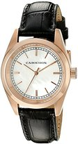 Cabochon Women's 'De Ce Monde' Swiss Quartz Stainless Steel and Black Leather Casual Watch (Model 516S-01)