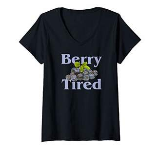 Womens Berry Tired berry Exhausted V-Neck T-Shirt