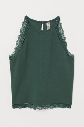 H&M Short sleeveless top with lace