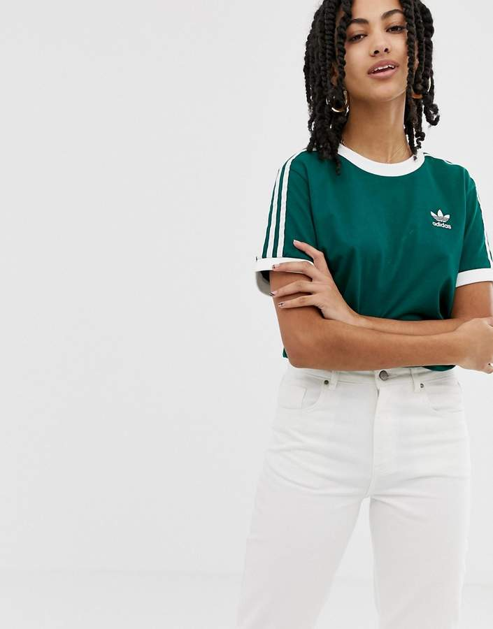 adicolor three stripe t-shirt in green