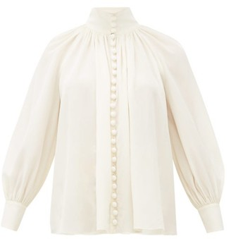 Zimmermann High-neck Gathered Silk-crepe Blouse - Ivory