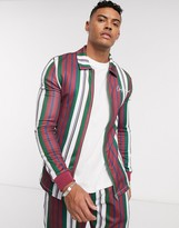 Asos Design DESIGN two-piece muscle fit harrington jacket in multi stripe with embroidery