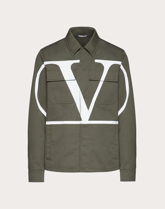 Valentino Vlogo Safari Jacket Man Military Green 100% Cotone 44