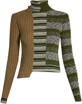 Maison Margiela Patchwork roll-neck ribbed-knit sweater