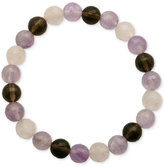 Macy's Faceted Bead Pink and Brown Stone Stretch Bracelet