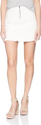 EVIDNT Women's HIGH Waisted Denim Frayed Mini Skirt