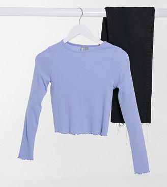 ASOS DESIGN Petite slim fit long sleeve top with lettuce edge in blue