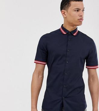 Asos DESIGN Tall skinny fit shirt with rib collar & cuffs