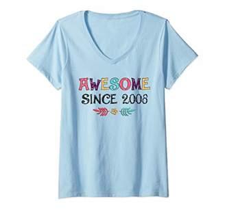 Womens Awesome Since 2008 T-Shirt 11st Birthday Gift Shirt V-Neck T-Shirt