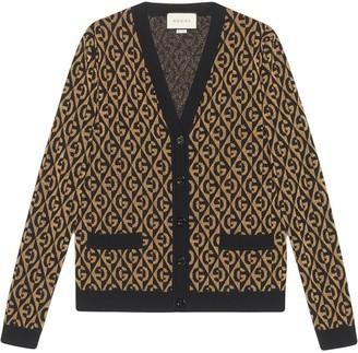 Gucci G rhombus lame jacquard cardigan