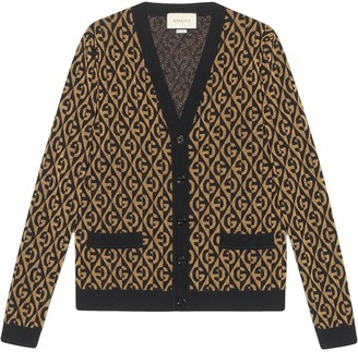 Gucci G rhombus lamé jacquard cardigan