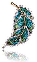 Alilang Tone Elegant Fresh Green Tree Leaf Swarovski Crystal Rhinestone Pin Brooch