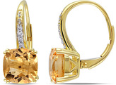 Ice Sofia B 4 1/4 CT Citrine 10K Gold Drop Earrings with Diamond Accents