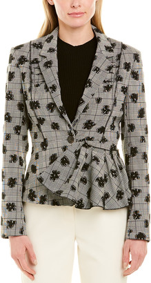 Jason Wu Collection Floral Plaid Stretch Suiting Jacket