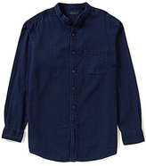 Roundtree & Yorke Casuals Long-Sleeve Solid Banded Collar Sportshirt