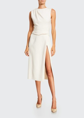 Oscar de la Renta Sleeveless Wool Crepe Pencil Dress