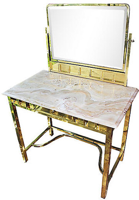 One Kings Lane Vintage French Brass & Onyx Vanity Table - House of Charm Antiques - Gold/cream/mirrored