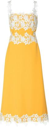 Lela Rose Floral-Appliqued Satin Slip Dress