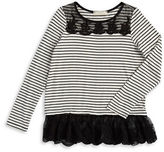 Soprano Girls 7-16 Girls Lace-Trimmed Striped Top
