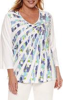 Alfred Dunner 3/4 Sleeve V Neck T-Shirt-Plus