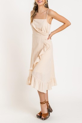 Lush Asymmetrical Ruffle Midi Dress