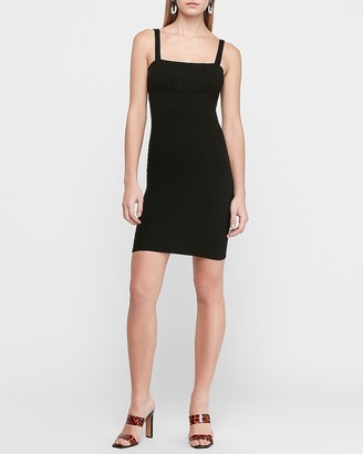 Express Ribbed Ruched Bust Sheath Dress