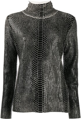 Ermanno Scervino Snakeskin-Effect Funnel New Top