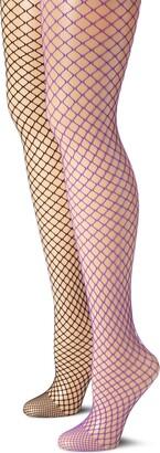 MUSIC LEGS Women's Plus-Size 2 Pack Diamond Net Pantyhose