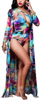 Multitrust Sexy Women Boho One Piece Swimwear And Cover Up Set Bathing Suit (L, )