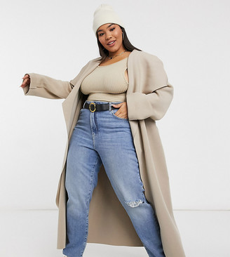 ASOS DESIGN Curve Scuba waterfall skater coat in mink