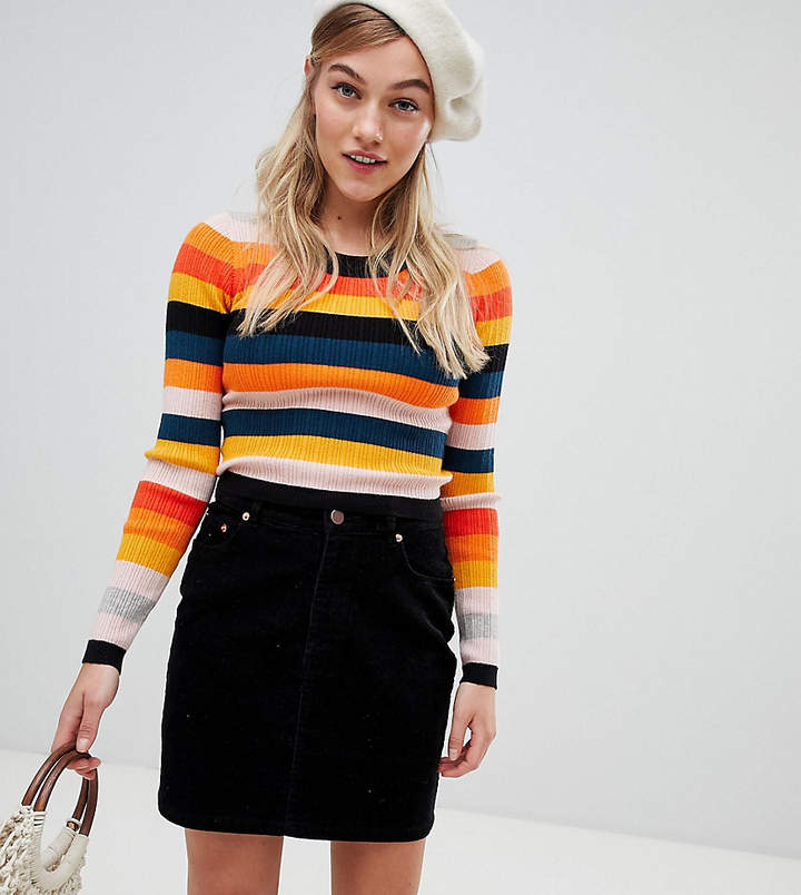 Asos (エイソス) - Asos Petite ASOS DESIGN Petite Ribbed Sweater In Fine Knit In Stripe