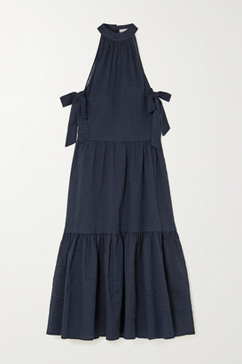 Marysia Swim Molluscs Tiered Crinkled Cotton-gauze Midi Dress - Indigo