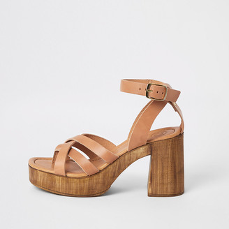 River Island Brown leather toe thong platform sandals