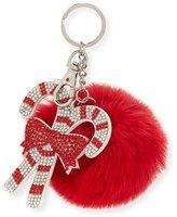 Bari Lynn Girls' Candy Cane Fur-Pom Key Chain