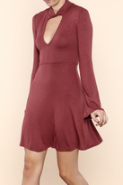 Solemio Mock Neck Flare Dress