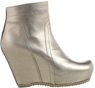 Rick Owens Gold Leather Boots