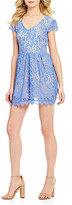Xtraordinary Cap Sleeve Two-Tone Lace Dress