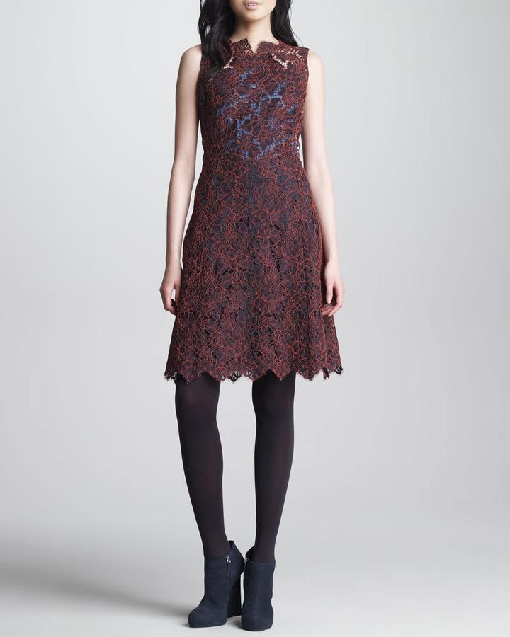 Carven Oxford-Back Lace Dress, Bordeaux