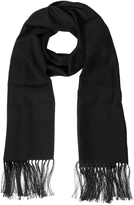 Lanvin Solid Silk Fringed Men's Long Scarf