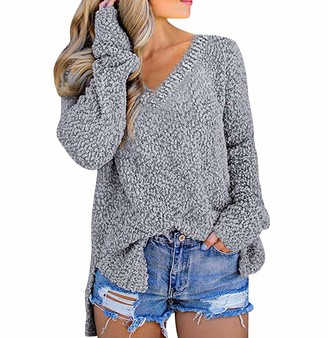 Odokei Vneck Jumpers for Women Knit Jumper Sweaters Women Ladies Baggy Vneck Cable Knitted Jumpers Ladys Oversized Chunky Long Sleeve Jumper Womens Pullover Sweater Loose Casual Cute Warm Vintage Grey L