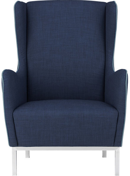 CB2 Study Navy Wingback Chair