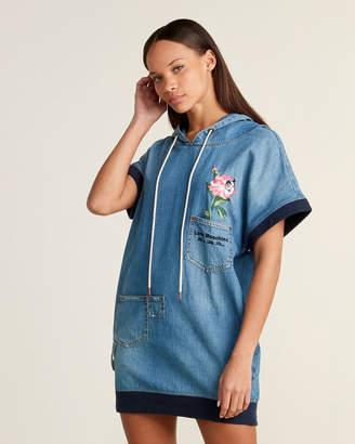 Love Moschino Embroidered Flower Hooded Mini Denim Dress