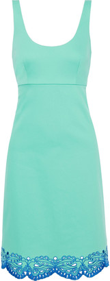Emilio Pucci Broderie Anglaise-trimmed Stretch-cotton Twill Dress