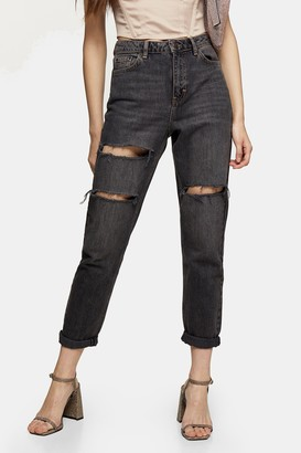 Topshop Womens Washed Black Mom Tapered Jeans - Washed Black