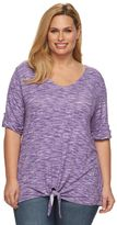 Croft & Barrow Plus Size Knot-Front V-Neck Tee