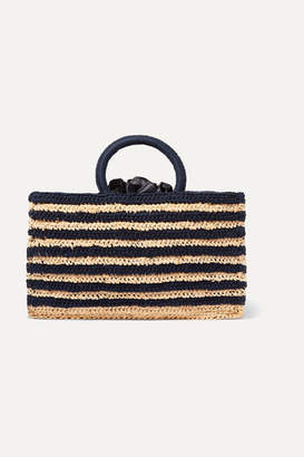 Mizele - Muze Mini Striped Crocheted Raffia And Cotton Tote - Navy