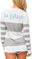 Macbeth Gray & White Stripe 'La Plunge' Top