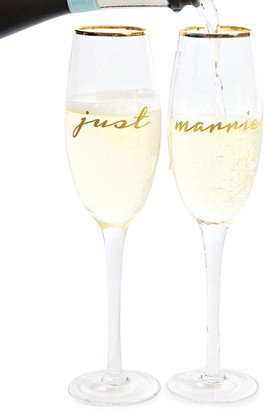 N. Just Married Champagne Flutes, Set of 2
