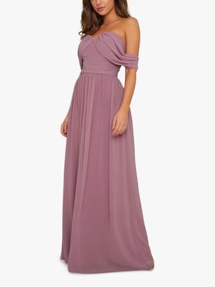 Chi Chi London Albanie Drape Shoulder Dress, Mink