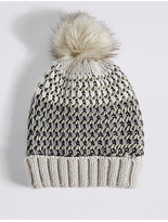 M&S Collection Textured Sparkle Pom Hat